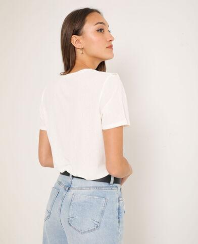 T-shirt à volants blanc cassé