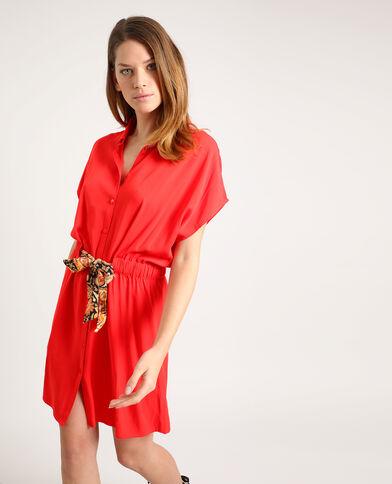 Robe chemise nouée rouge