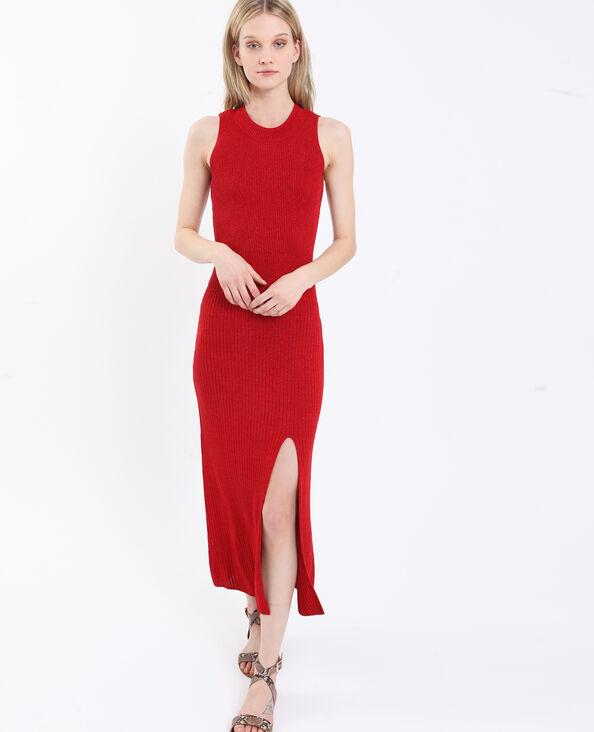 Robe longue irisée rouge