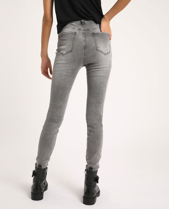 Jean skinny high waist gris chiné