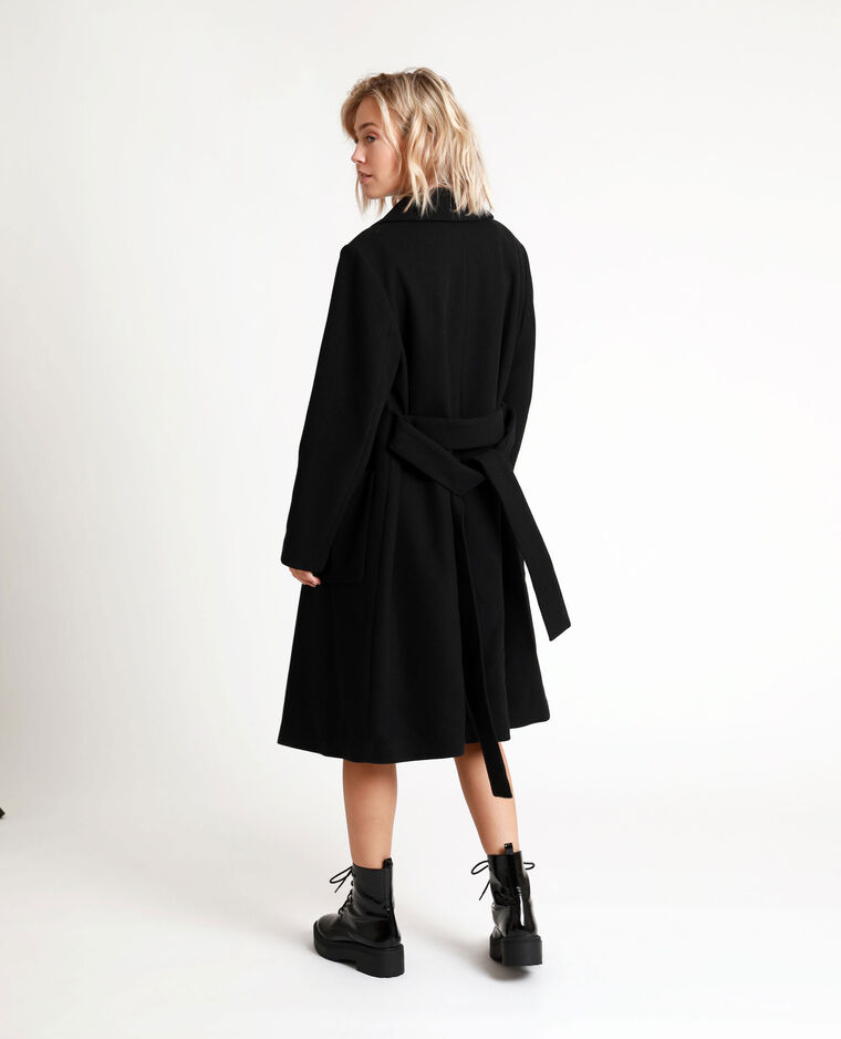Manteau drap de laine noir