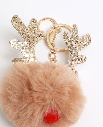 Porte-clés renne de Noël beige