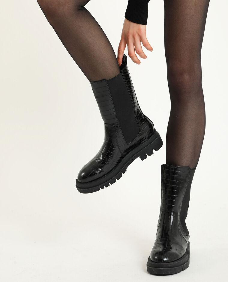 Boots rock croco noir