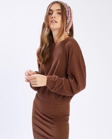 T-shirt côtelé à manches longues marron - Pimkie