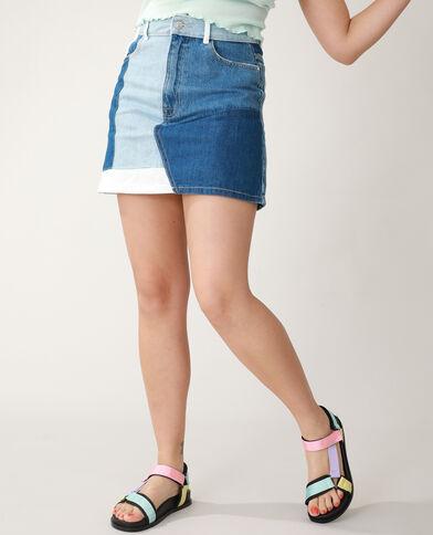 Jupe en jean patchwork bleu - Pimkie