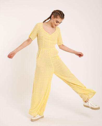 Combi-pantalon à fleurs jaune
