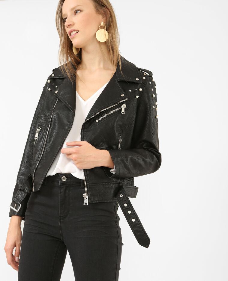 Veste biker simili cuir cloutée noir