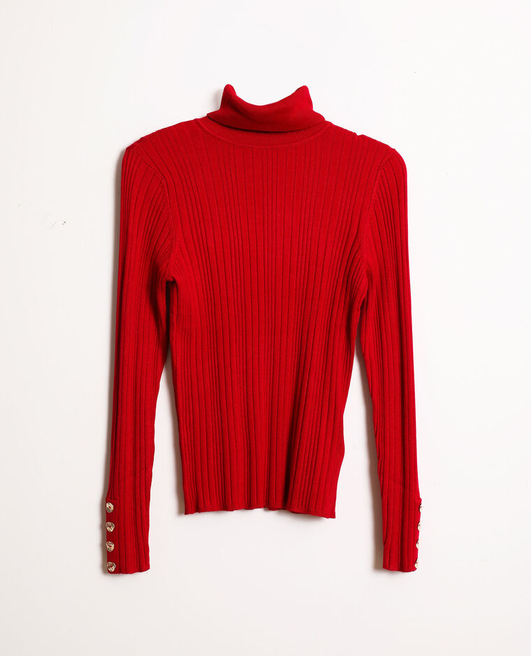 Pull fin col roulé rouge