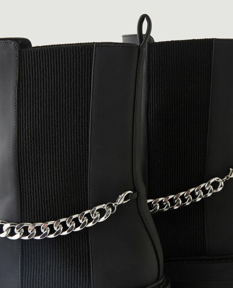 Bottines Chelsea à chaînettes noir - Pimkie