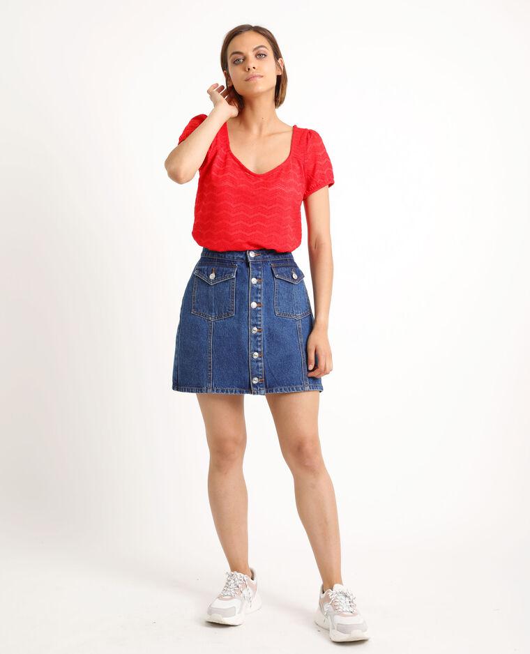 T-shirt ajouré rouge - Pimkie