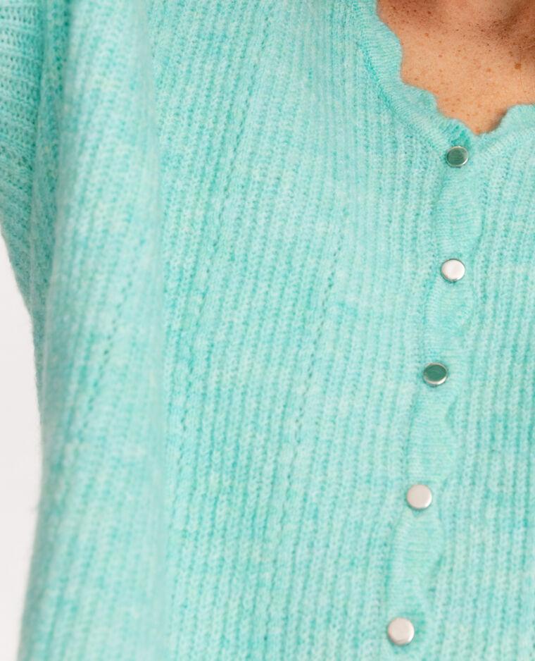 Gilet boutons métalliques turquoise