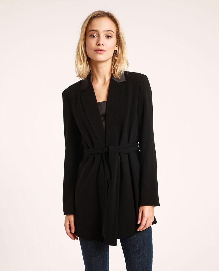 Veste blazer à ceinture noir