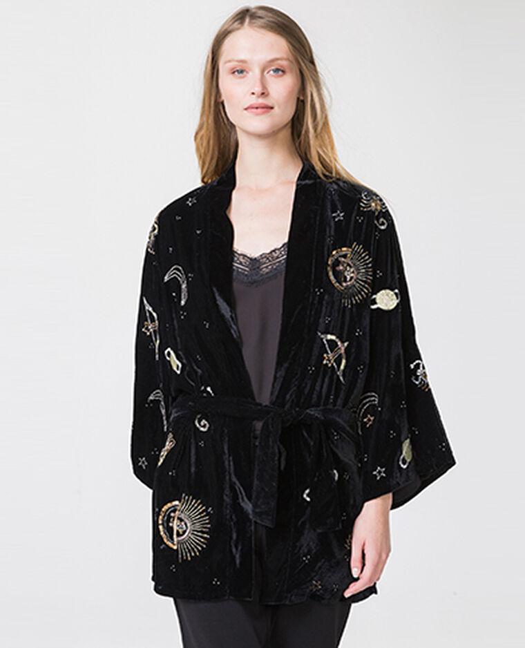 Kimono velours imprimé noir