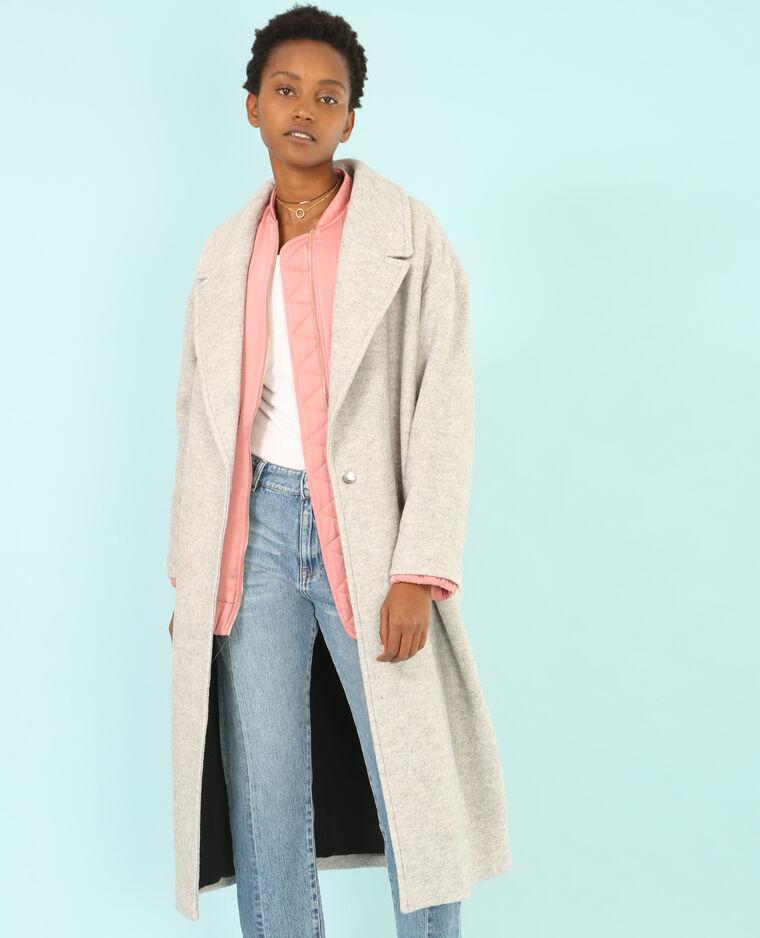 2b5eb59cd43 Manteau long laine mélangée gris chiné - 281084830A08