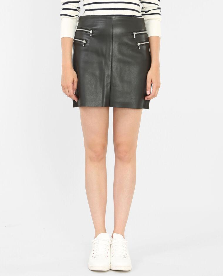 Jupe simili cuir zippée noir