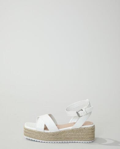 Sandales compensées croco blanc - Pimkie