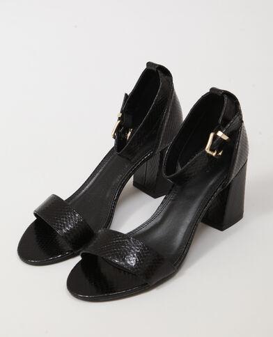 Sandales en faux cuir noir - Pimkie