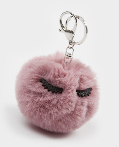 Porte-clés pompon rose
