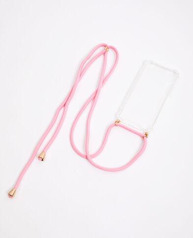 Coque avec cordon compatible iPhone rose