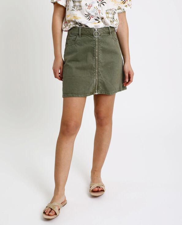 1f40478bb8a Jupe en jean zippée vert