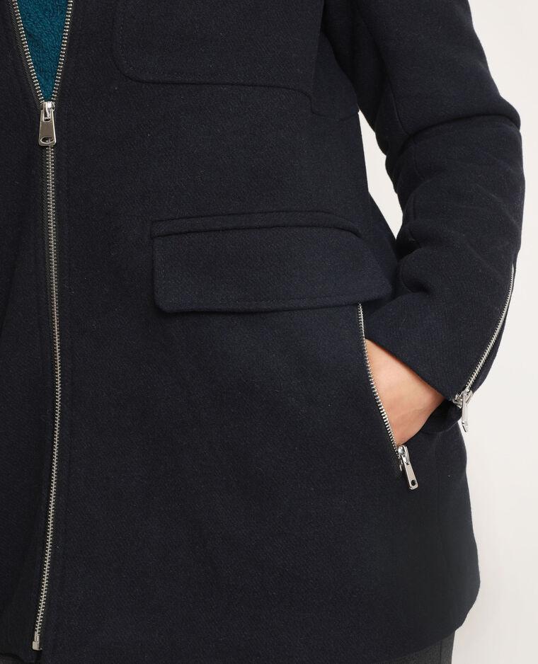 Manteau à capuche bleu marine