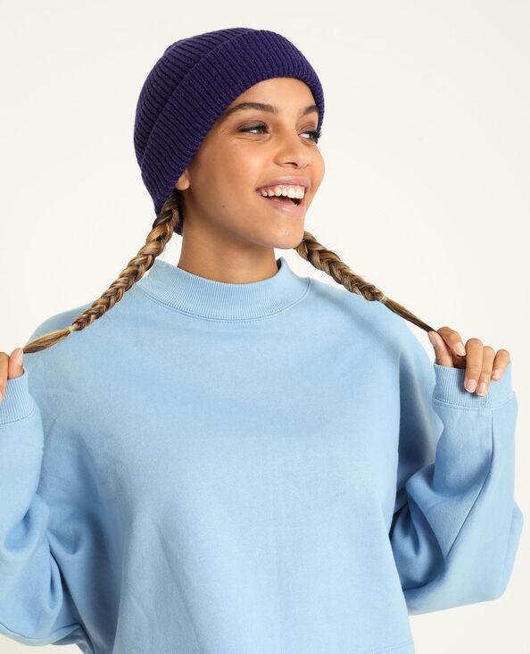 Bonnet avec revers violet
