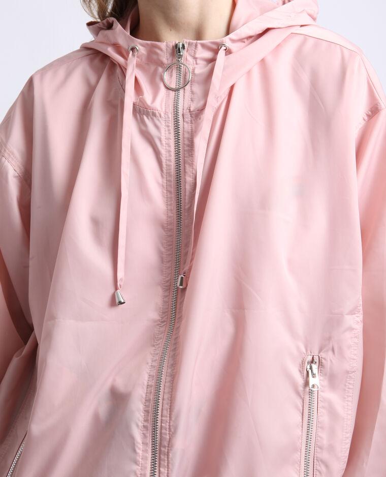 Coupe-vent à capuche rose nude