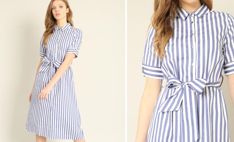 Robe chemise à manches courtes bleu