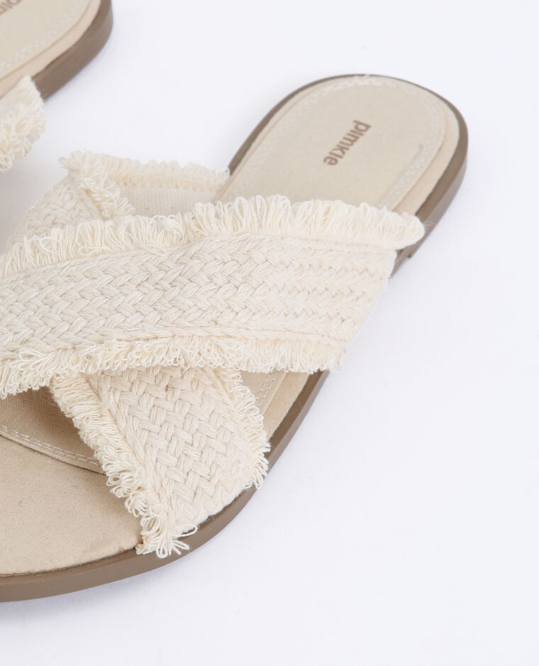 Sandales en tissu beige ficelle - Pimkie