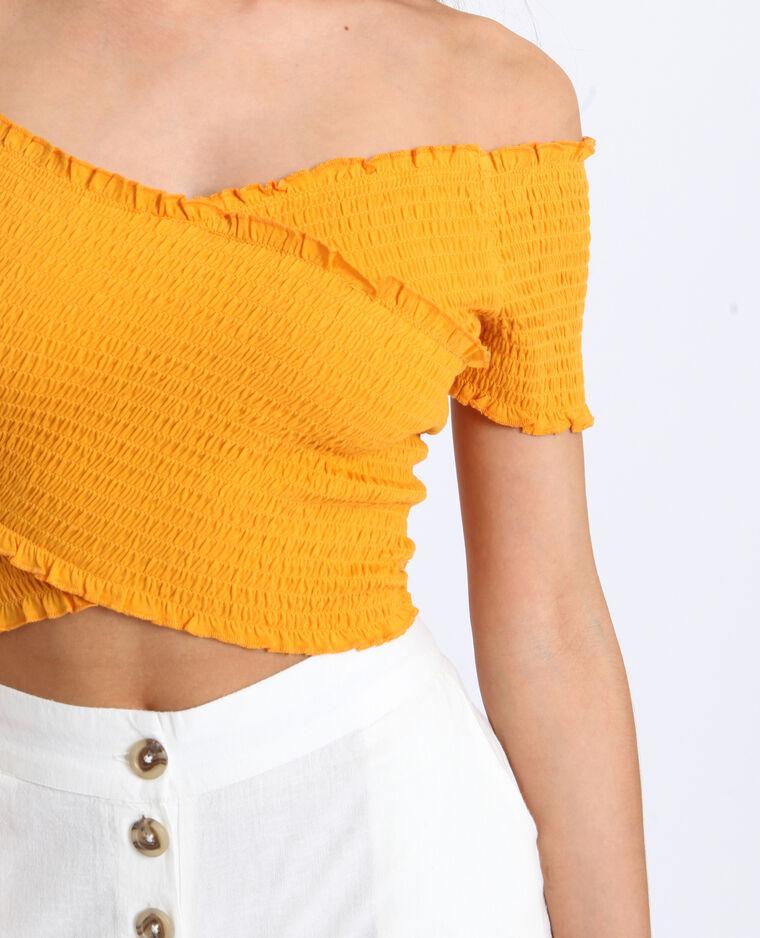 Crop top à col bardot jaune