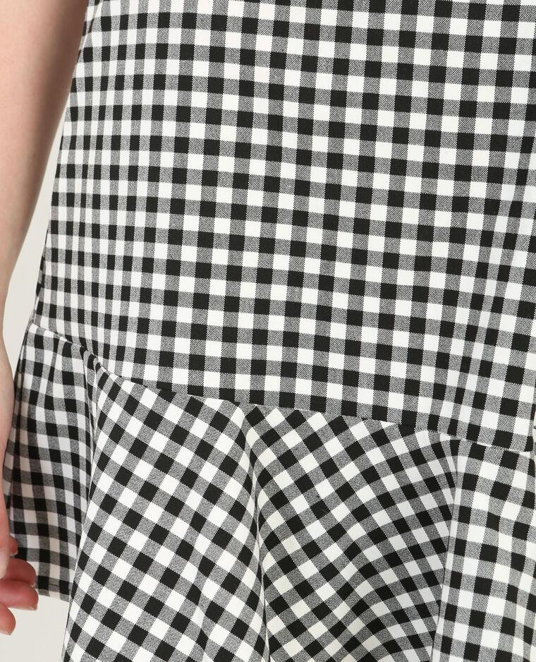 Mini jupe volantée vichy noir