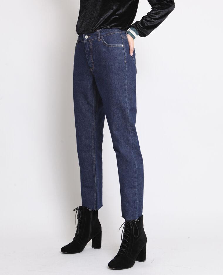 Jean droit mid waist bleu brut