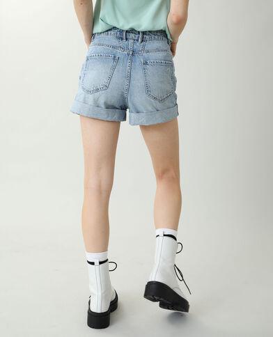 Short en jean high waist bleu clair
