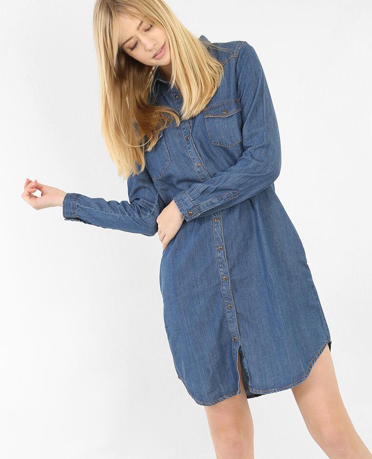 Robe chemise denim bleu