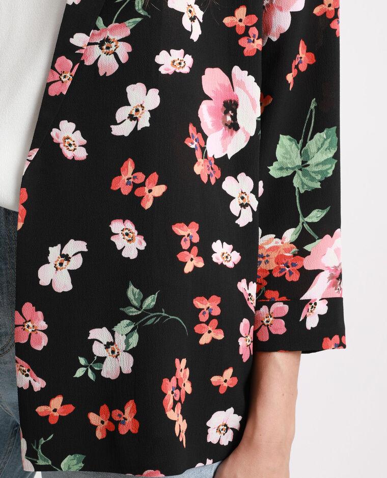 Veste à fleurs noir + rouge