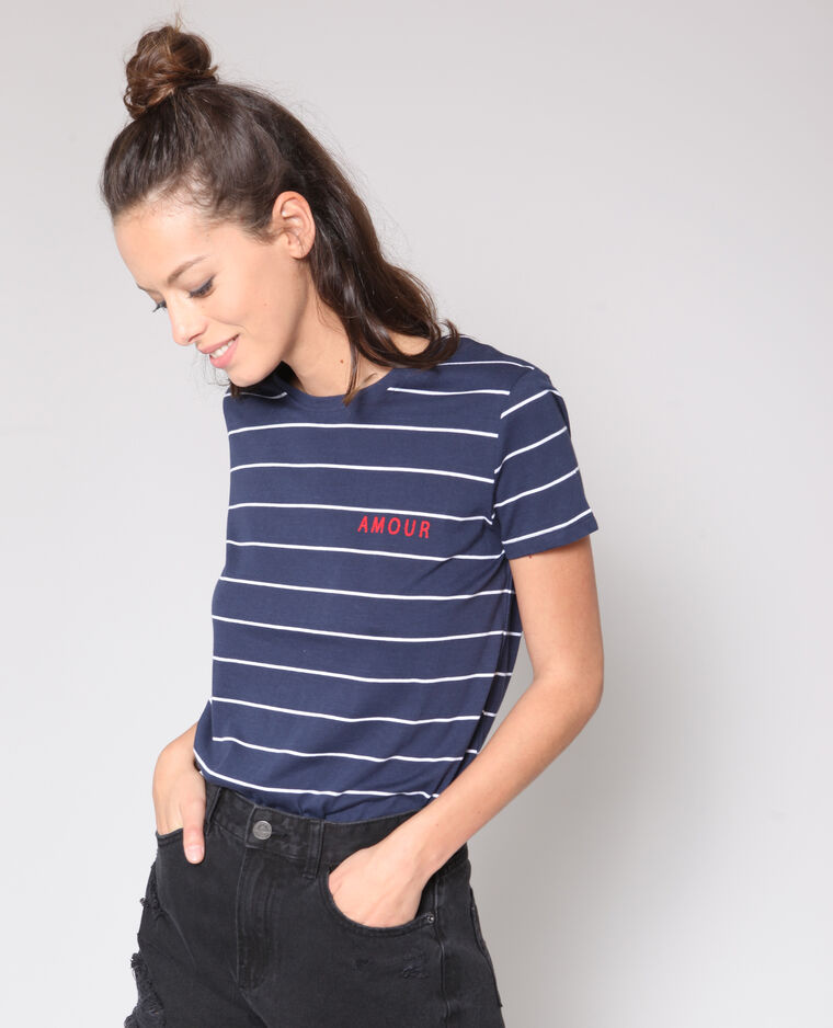 T-shirt imprimé bleu marine