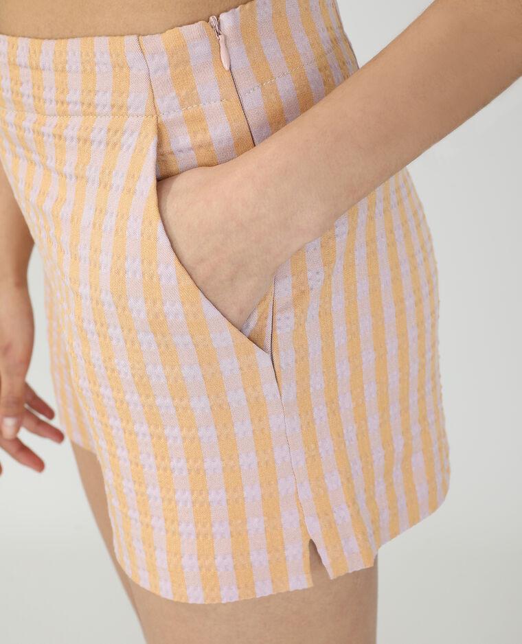 Short rayé et à carreaux taille haute orange - Pimkie