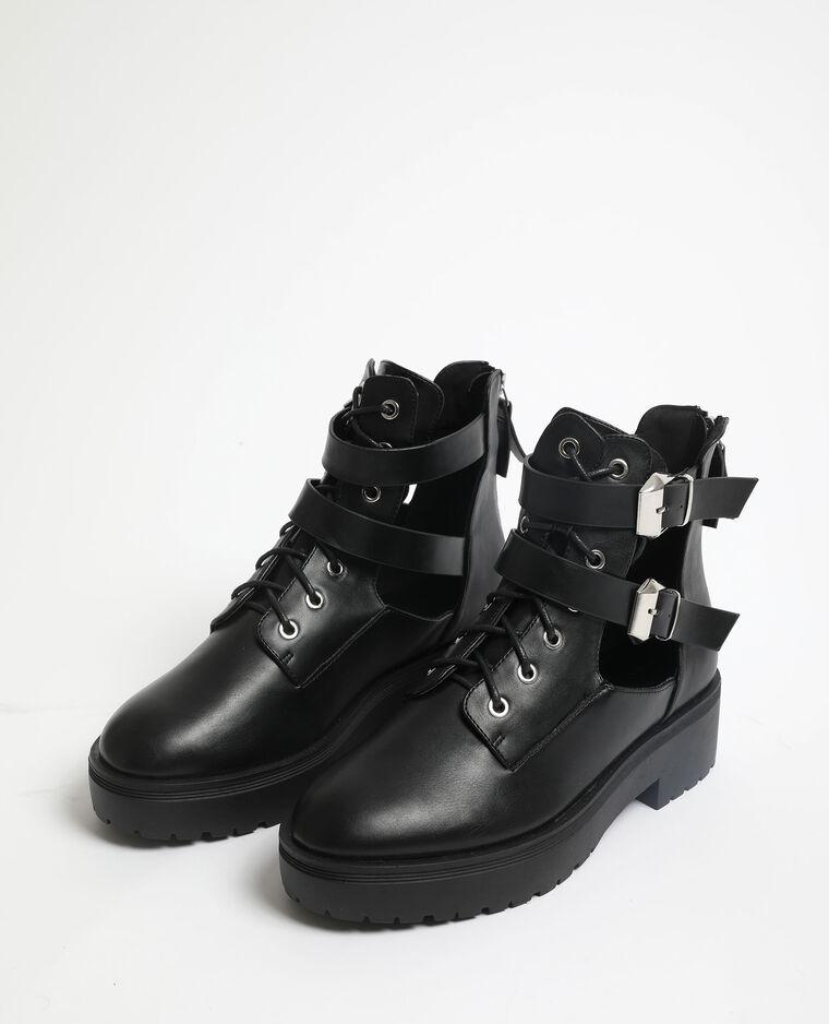 Boots motard en faux cuir noir