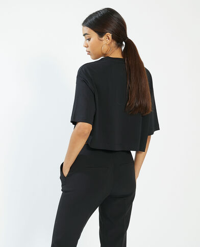 T-shirt cropped noir - Pimkie