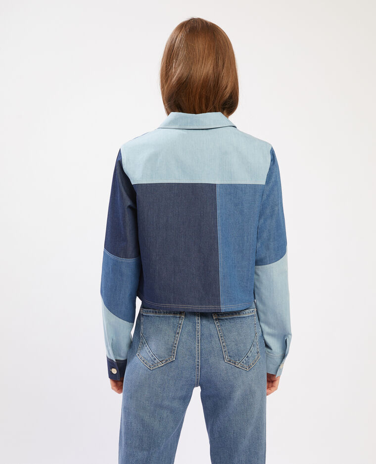 Chemise cropped denim à patchs bleu - Pimkie