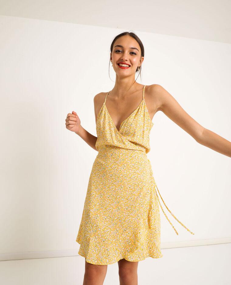 Robe portefeuille à fleurs jaune - Pimkie