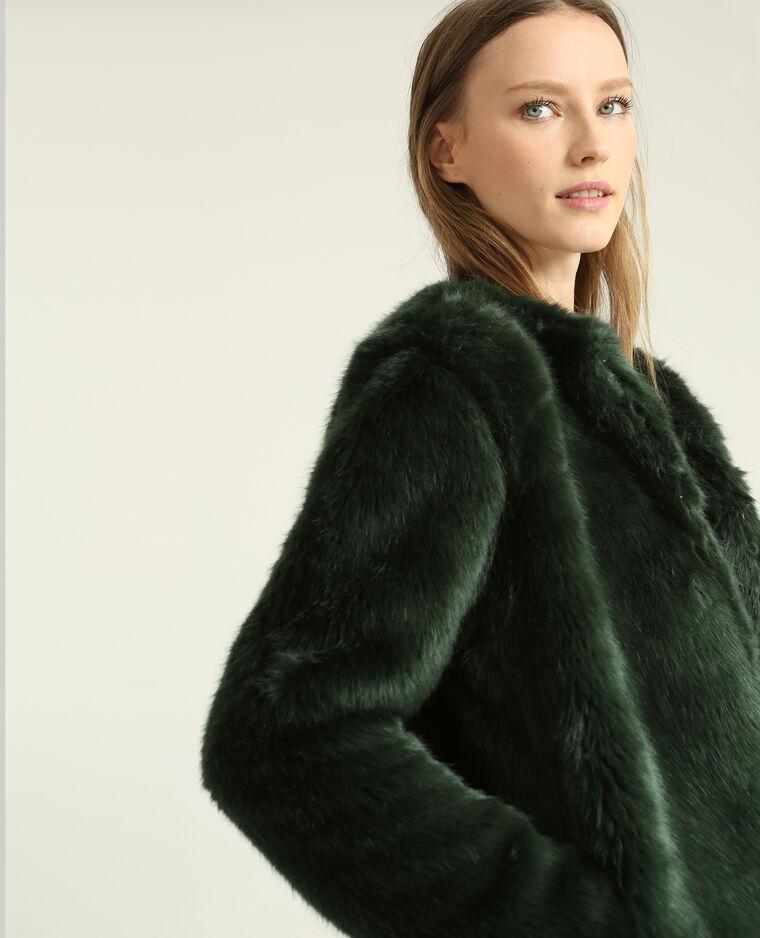 Le manteau en fausse fourrure marron | Manteau fausse