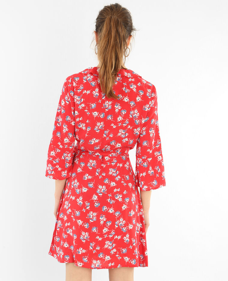 Robe portefeuille volantée rouge - Pimkie
