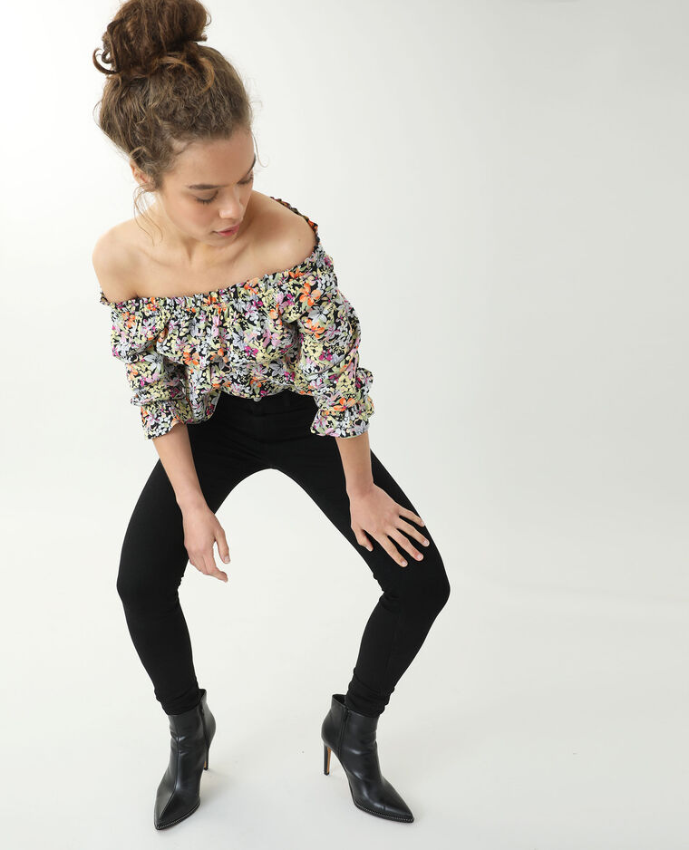Jean skinny push up mid waist noir - Pimkie