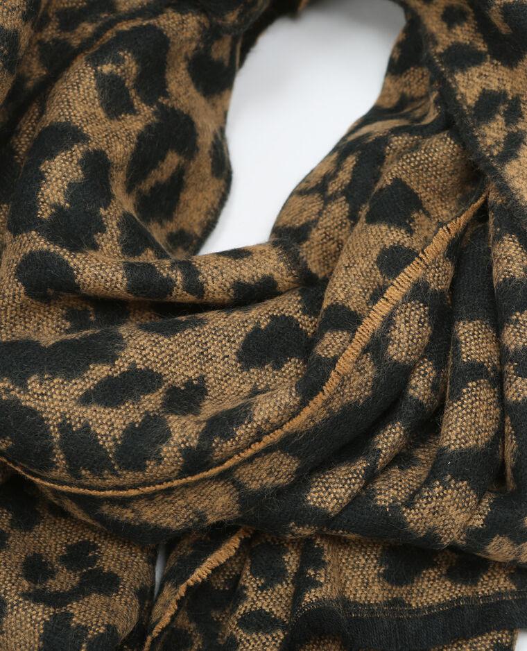 Echarpe plaid motif panthère noir