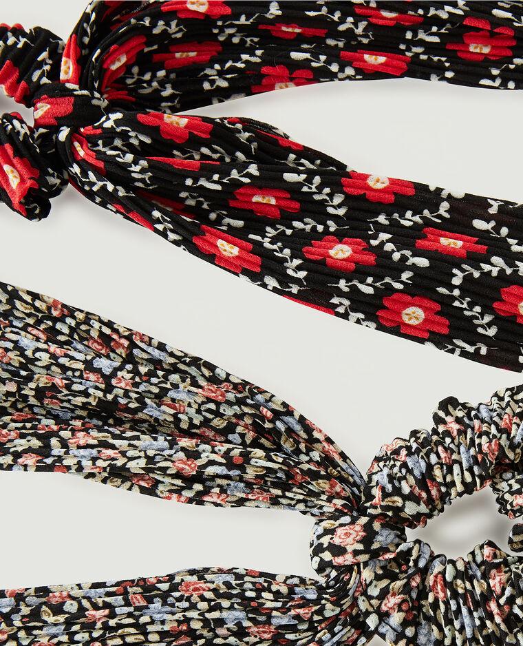 Lot de 2 chouchous plissés et fleuris noir - Pimkie