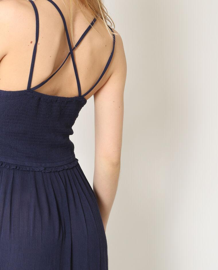 Robe longue à fines bretelles bleu marine