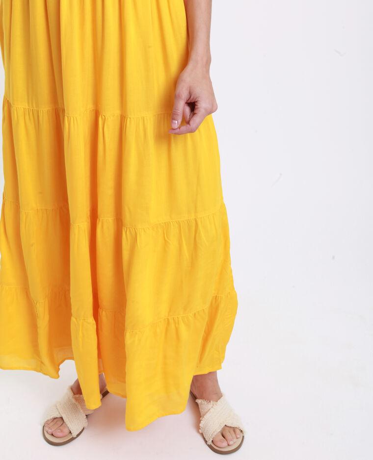 Robe longue découpe dos jaune