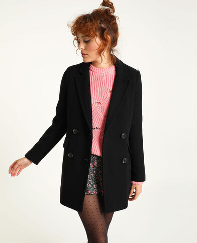 Manteau droit drap de laine noir