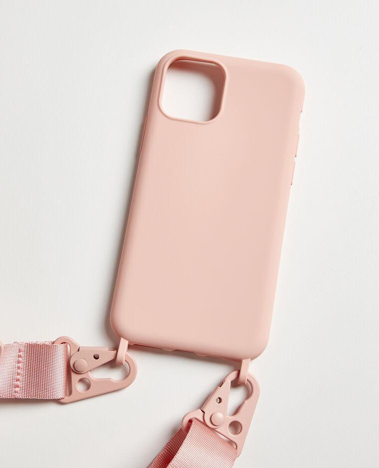 Coque Iphone avec bandoulière rose